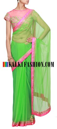 Buy Online from the link below. We ship worldwide (Free Shipping over US$100) http://www.kalkifashion.com/green-saree-with-embroidered-blouse.html Green saree with embroidered blouse