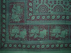 """Hand Block Print Indian Tapestry Cotton Spread 108"""" x 88"""" Full-Queen Green"""