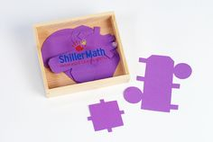 Flat shapes that assemble into a cone, cylinder, cube, and pyramid. Comes in a wooden box with plastic slide cover.  Used in Book 6.  Included in Kit II.