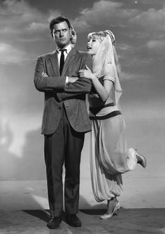 Barbara Eden and Larry Hagman in the television series, I Dream of Jeannie (1965)