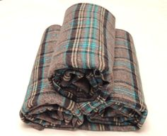 Blue Grey Plaid Flannel Swaddle Receiving Blanket by SnuggleBugZZZ. LOVE!