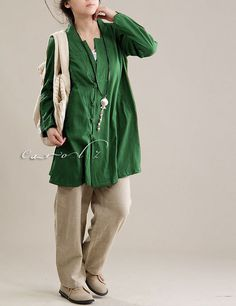 Plus Size Blouse Green Cross Over Neckline Woman's by Concertino, $ 56.00