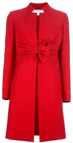 Valentino Bow Coat in Red