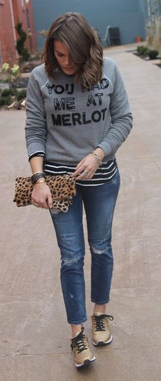 Be super stylish just when running errands! Sport a patterned shirt underneath your Bow and Drape sweatshirt for a chic look! Are you a stripe or plaid fan? Would you try this layering look for fall and winter?