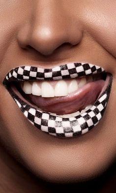 lipstick art   Checkered flag, Lipstick Art
