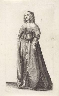 Engelse vrouw van stand, een gordel met edelstenen om het middel, Wenceslaus Hollar, 1640
