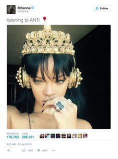 Week 6: Referent Power Photo #3 Date: October 7, 2016 Location: Twitter Camera/ Technology Used: Unknown Image Description: Rihanna posted a photo wearing $9,000 Dolce & Gabbana headphones and they sold out in 24 hours