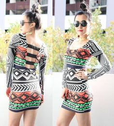 FESTIVAL NEON TRIBAL AZTEC PRINTS PANEL CUT OUT BACKLESS BODYCON DRESS S 8