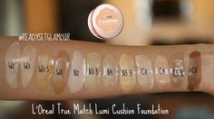 L'Oreal Paris True Match Lumi Cushion Foundation Swatches ~ I think the W3.5 swatch is really W5.5 (oops! )