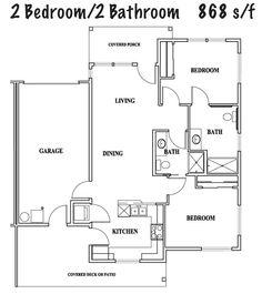 Duplex House Plans Full Floor Plan 2 Bed 2 Bath Duplex