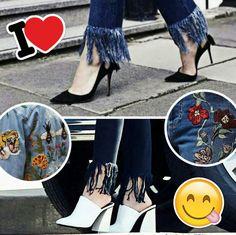 Ideias criativas para customizar jeans ou outras peças no feriado. Patches, pins e franjas.❤️👖😉 #hollidays #creative #fashion #inspirations #customjeans #trends