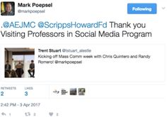2016-17 Visiting Professor Mark Poepsel tweets April 3, 2017, about his campus visitors, headliners for Mass Comm Week at Southern Illinois University-Edwardsville, Chris Quintero and Randy Romero from DigitasLBi Chicago. Their visit was part of the second phase of the 2016-17 Scripps Howard Foundation Visiting Professors Program.