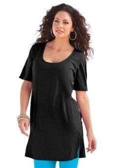 4fdaaf5e873b9 Roamans Women s Plus Size Scoop Neck Max Tunic at Amazon Women s Clothing  store  Fashion T Shirts