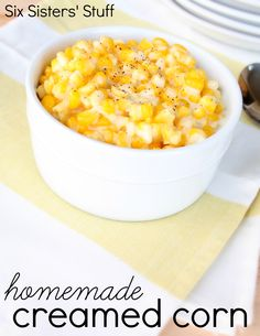 Homemade Creamed Corn from SixSistersStuff.com.  So delicious and easy, you'll never want the canned version again! #recipes #sidedish #corn #veggies