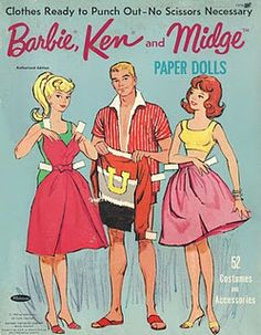 1963 Barbie, Ken and Midge paper doll front folder / eBay