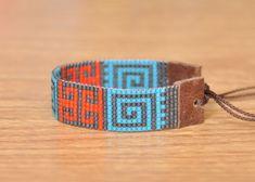 Loom Bracelet Patterns, Bead Loom Bracelets, Bead Loom Patterns, Orange Design, Peyote Stitch, Brick Stitch, Loom Beading, Bead Weaving, Blue Orange