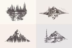 Collection of mountain landscapes by Bakani on @creativemarket Mountain Landscape, Graphic Illustration