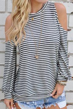 Stripe Cold Shoulder Long Sleeves T-shirt