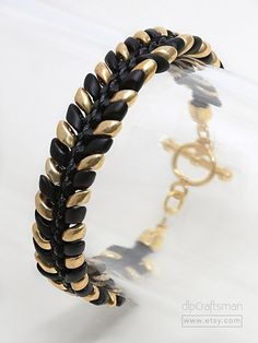 Gold/Black Kumihimo Bracelet, Japanese Glass Kumihimo Bracelet, Gold/Black Magatama Bracelet