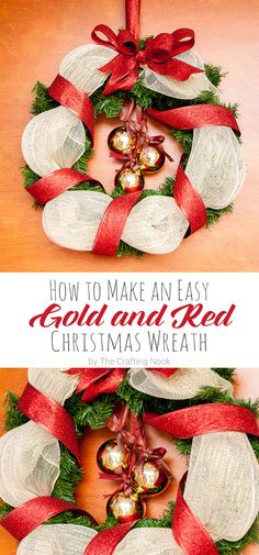 If you need an easy, pretty and practical idea for a Christmas wreath, look no more!!! This tutorial on How to Make an Easy Red and Gold Christmas Wreath will get you just that!