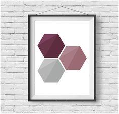 Honeycomb Printable Art Purple Hexagon Art Modern Wall Art Geometric Print Purple Home Decor Minimalist Hexagon Art Abstract Modern Print