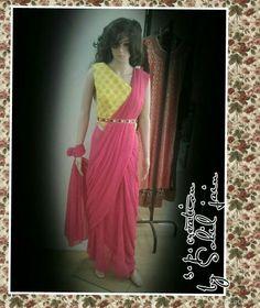 Drap saree gown # with mahrani pallu style # s.p.creation by sohil jain