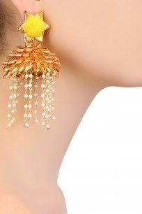 Golden and Yellow Pearl Tassel Drop Jhumki Earrings #gotta #ribbon #earrings…