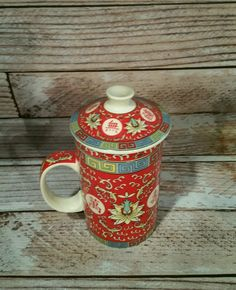 Asian Chinese World Market Ceramic Tea Coffee Mug Cup with Lid & Infuser in Collectibles, Decorative Collectibles, Mugs, Cups | eBay