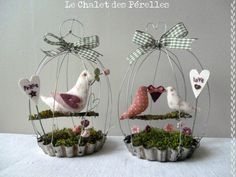 Bird cage tart pan ornaments: Complete arrangement of moss, birds, swing, etc. Create cage, drill holes in pan, wire cage to pan. (Rough draft)