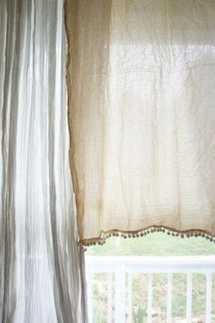 tea-dyed flour sack curtains by amorehome