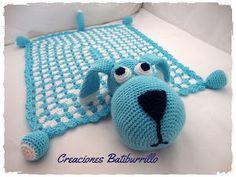Perro manta de apego en crochet | Manualidades Crochet Lovey Free Pattern, Afghan Crochet Patterns, Love Crochet, Crochet For Kids, Crochet Bedspread, Baby Blanket Crochet, Finger Knitting, Baby Knitting, Knitted Blankets