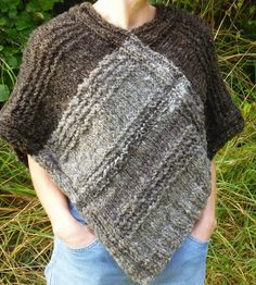 Hand knitted poncho using hand spun Jacob sheep wool by RebeccasWool on Etsy Jacob Sheep, Knitted Poncho, Sheep Wool, Hand Spinning, Hand Knitting, Crochet Top, Casual, How To Wear, Pictures