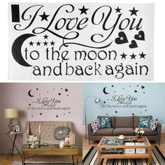 Hot Sale 2015 Wall Sticker I Love You to the Moon and Back Again Star Heart/Art words sayings removable Vinyl Wall Decals Wall Mural Decals, Removable Vinyl Wall Decals, Nursery Wall Stickers, Wall Stickers Home Decor, Wall Decor, Wall Art, Diy Wall, Wall Stickers Quotes, Wall Quotes