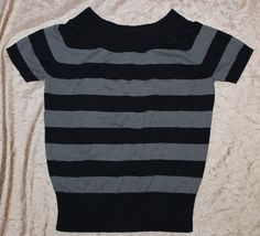 Torrid 2X Black & Gray Striped Boatneck Knit Short Sleeve Sweater Shirt Blouse