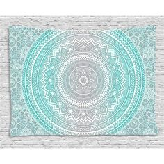 Grey and Aqua Tapestry, Ombre Traditional Universe Symbol with Tribal Geometric Mandala Zen Artwork, Wall Hanging for Bedroom Living Room Dorm Decor, 60W X 40L Inches, Aqua Grey, by Ambesonne $29,99