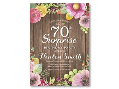 Rustic Floral Surprise Birthday Invitation - elegant gifts gift ideas custom presents Surprise 30th Birthday, 80th Birthday, Women Birthday, Birthday Gifts, 60th Birthday Ideas For Women, Thirty Birthday, Birthday Parties, Theme Parties, Birthday Celebrations