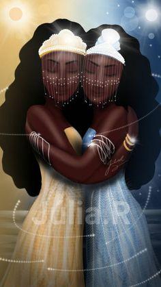 Oshun and Yemanja by Júlia Rodrigues Oshun Y Yemaya, Oshun Goddess, Goddess Art, Black Love Art, Black Girl Art, Art Girl, African Mythology, African Goddess, African American Art
