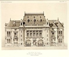 Front elevation of a projected City Hall, France