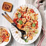 Pasta with Shrimp and Tomato-Caper Sauce Recipe | MyRecipes.com