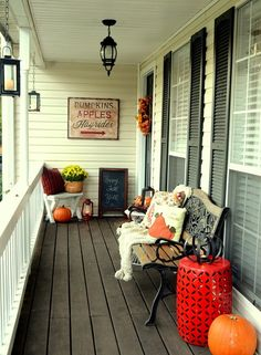 Fall Front Porch with DIY rustic sign