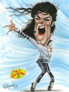 Micheal Jackson caricature by Tom Richmond