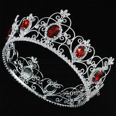 """Pageant 3.5"""" Full Circle Tiara Simulated Red Ruby King / Queen Crown Clear Rhinestone Costumes Party Art Deco Luxurious Jewelry-in Hair Jewelry from Jewelry on Aliexpress.com 