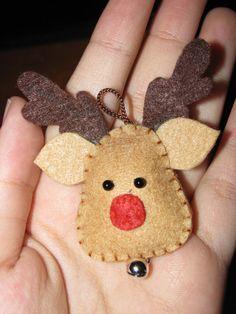 felt reindeer - felt, embroidery yarn, 2 small black beads, jingle bell, brown cord or ribbon...