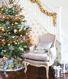 Christmas decor with silver and gold accents