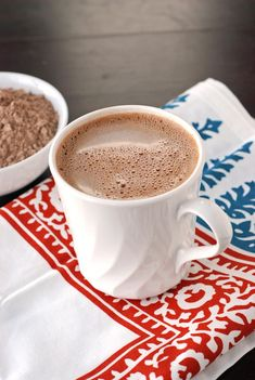 BEST EVER HOT COCOA MIX  3 cups non-fat dry milk,  2 cups powder sugar, 1-1/2 cups Hershey unsweetened cocoa powder, 1/2 cup white chocolate chips (grated in blender), 1/2 cup semi-sweet chocolate chips (grated in blender), 2 t cornstarch, 1 t salt. Add 1/4 c mix to 8 oz hot milk, water, or coffee. Store in airtight container.