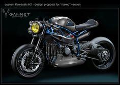 "Kawasaki H2 Cafe Racer GANNET Design ""Naked"" version #motorcyclesdesign #diseñodemotos | caferacerpasion.com"