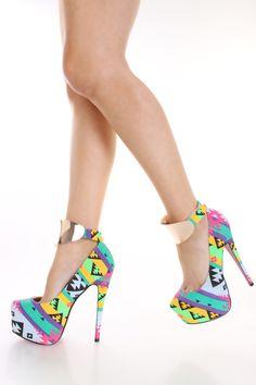 Multi Tribal Print Pump Heels