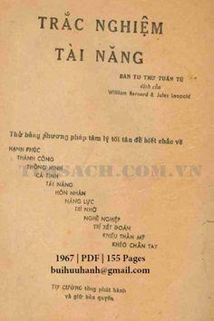 Trắc Nghiệm Tài Năng (NXB Tự Cường 1967) - William Bernard, 155 Trang   Sách Việt Nam