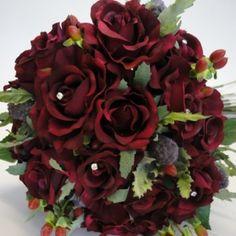 Winter Wedding Bouquets | Burgundy Rose Winter Wedding Bouquet