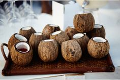 coconut cups!  Love this idea for a tropical wedding | Coco locos at the reception - cute for a beach theme